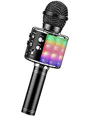ShinePick Karaoke microfoon, bluetoothmicrofoon, kinderen, dansen, led-verlichting, draadloze draagbare microfoon met luidsprekeropname, voor volwassenen en kinderen, compatibel met Android iOS PC
