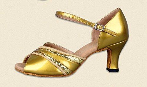 Damene Peep Toe Glitrende Latin Ballroom Dans Sko Pu Lær Ankel Strap Hæler Gull