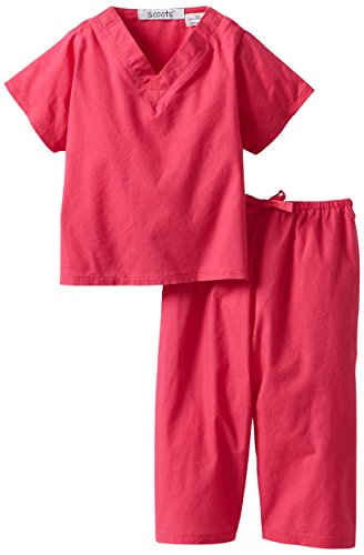 [Scoots Baby Girls'  Scrubs, 6-12 months, Hot Pink] (Doctor Outfits)
