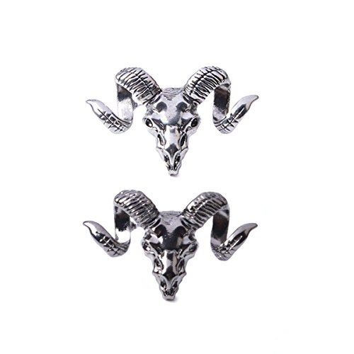 2PCS Punk Animal Sheep Goat Head Suit Brooch Pin Women Men Jewelry Shawl Scarf - What Me Spectacles Suit