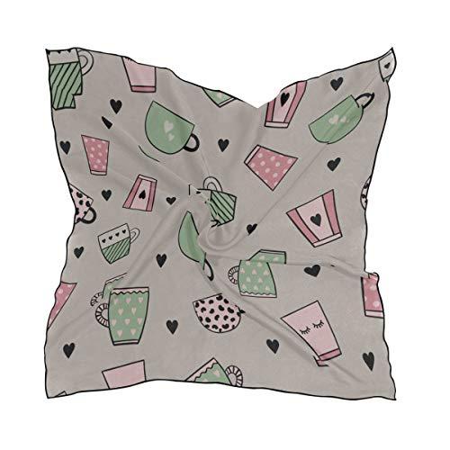 Women's Soft Polyester Silk Square Scarf Mug Home Supplies Hand-painted Fashion Print Head & Hair Scarf Neckerchief Accessory-23.6x23.6 Inch