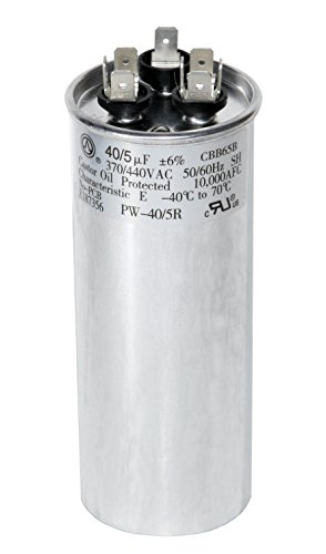 - PowerWell 40 + 5 MFD uf 370 VAC or 440 Volt Dual Run Round Capacitor PW-40/5/R for Condenser Straight Cool or Heat Pump Air Conditioner 40/5 Micro Farad - Guaranteed to Last 5 Years