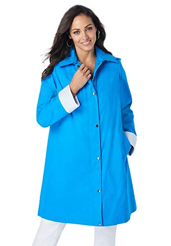 Jessica London Women's Plus Size A-Line Hooded Raincoat