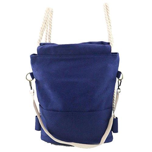 Square Big Laptop Tablet Book Canvas Rucksack Bag (Blue) - 7