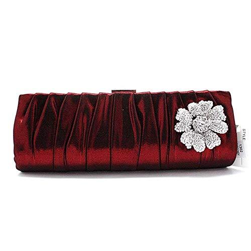 ZTDXCL Women's Clutch Bag Silk Pleats Dinner Bag Party Banquet Bride Dress Dance Party Evening Bag, Red ()