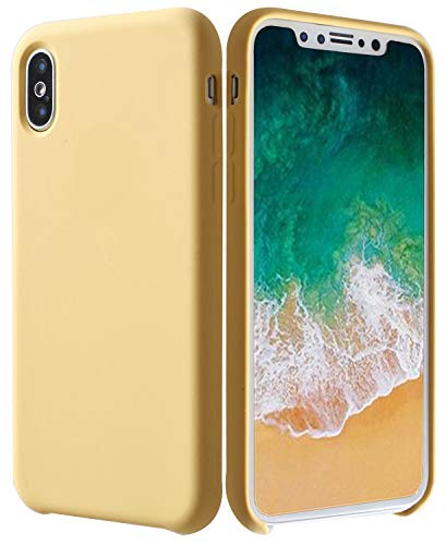 Soft Liquid Silicone iPhone X Case, ARASO Liquid Silicone Gel Rubber Shockproof Case with Soft Microfiber Cloth Lining Cushion for iPhone X (Yellow)