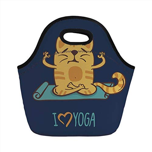 Portable Neoprene Lunch Bag, Animal, I Love Yoga Theme Cute Cartoon Cat Exercise Mat Lotus Position, Dark Blue Light Blue Yellow, for Kids Adult Thermal Insulated Tote Bags