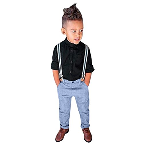 Set Clothes, Malltop Trendy Mature Kids Long Sleeve T-Shirt+Braces+Trousers