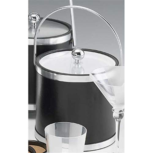 OKSLO Sophisticates black with brushed chrome 3 quart ice bucket with bale handle band