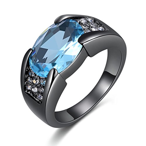 Solitaire Oval Aquamarine - Huanhuan Rings Size 10 Solitaire Oval Cut Blue Aquamarine Vintage and Fashion Comfort Fit Wedding Band Rings for Men and Women with Classic Cubic Zirconia