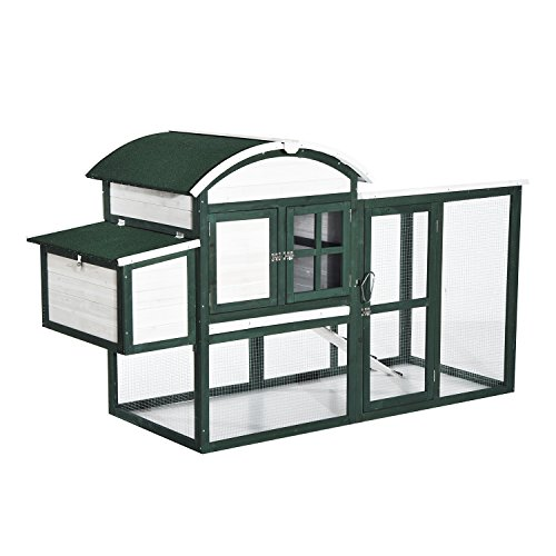 Pawhut-77-Wooden-Rounded-Roof-Chicken-Coop-w-Run-and-Nesting-Box-Green-and-White