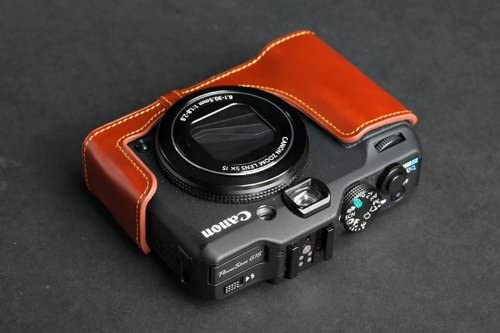 Handmade Genuine real Leather Half Camera Case bag cover for CANON G15 Brown color