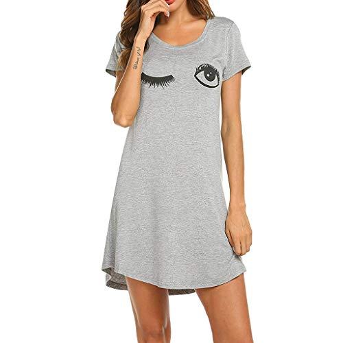 Sunhusing Ladies Solid Color Round Neck Short Sleeve Cartoon Cat Print Comfort Nightgown Pajama Daily Home Dress Gray