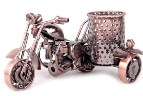 ERMKOVA Metal Motorcycle Model Retro Motorbike Model Pencil Cup Antique Motor Bicycle Pen Container Holder Home Office - Ban Sign Ray