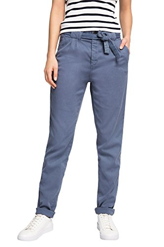edc by Esprit Mit Hoher Leibhöhe - Pantalones Mujer Azul (GREY BLUE 420)