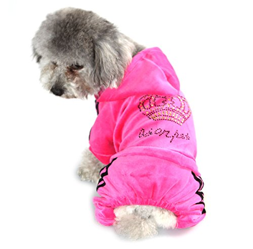 PEGASUS-Pet-Clothes-for-Puppy-Cat-Small-Dog-Soft-Velvet-Crown-Jumpsuit-Coat-Hooide-Pajamas-Tracksuit-Pink-S