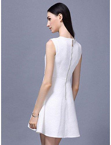 PU&PU Robe Aux femmes Gaine Simple,Couleur Pleine Col Arrondi Au dessus du genou Polyester , white-2xl , white-2xl