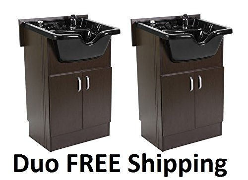 DUO Shampoo Cabinet SANDEN BROWN w Faucet, Bowl, Drain for Beauty Salon and Spa