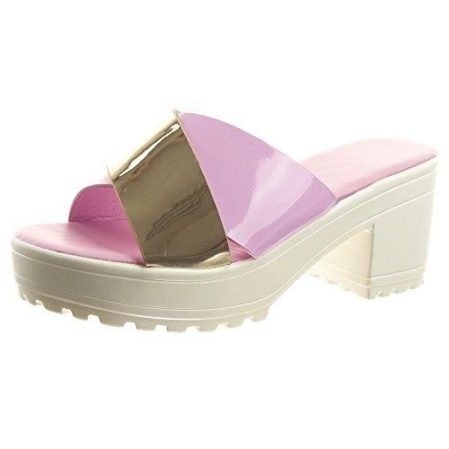 Sopily damen Mode Schuhe Offen Sandalen Offen Schuhe Plateauschuhe glänzende Lila ... 6ead7d