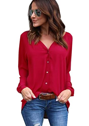 Flying Rabbit Women's Chiffon Cuffed Long Sleeve Button Down Shirts Casual V Neck Blouses Tops(Red,S) ()