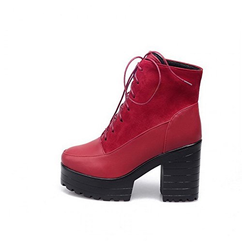 AgooLar Women's Solid Blend Materials High-Heels Lace-up Round Closed Toe Boots Red B4sCg1W7W4