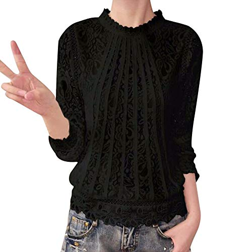 Clearance Women Tops LuluZanm O Neck Lace Casual Tops Blouse Women Solid Long Sleeve T-Shirt