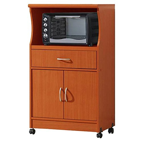 Microwave Cart with Storage Doors Drawer Kitchen Rolling Portable Cabinet Wood Unit (Cherry) by Hodedah