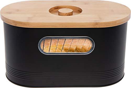 Mindful Design 2-in-1 Modern Tall Bread Box w/Bamboo Cutting Board Lid (Black)