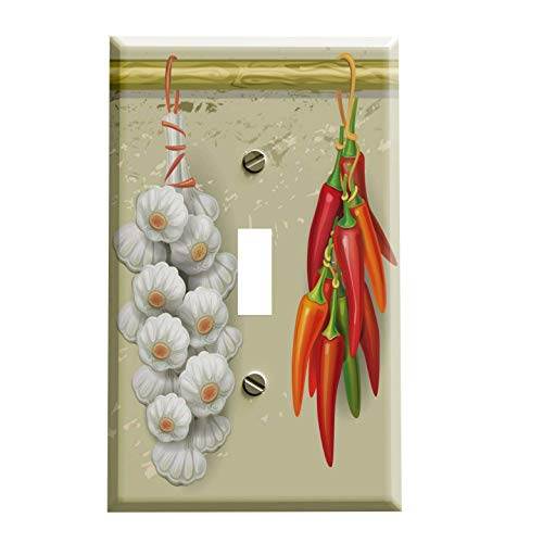 (Chili Peppers and Garlic Switch Plate - Switchplate Cover - 1 toggle)