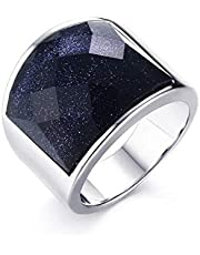 Ring Titanium Steel Purple Natural Stone Ring For Men Size 9
