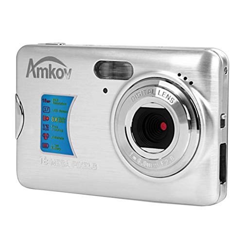 Amkov CDFE Mini Digital Camera DVR Super Thin 14 Mega Pixel Ultra-HD 2.7 Inch Display Video Camcorder Recorder (Silver)