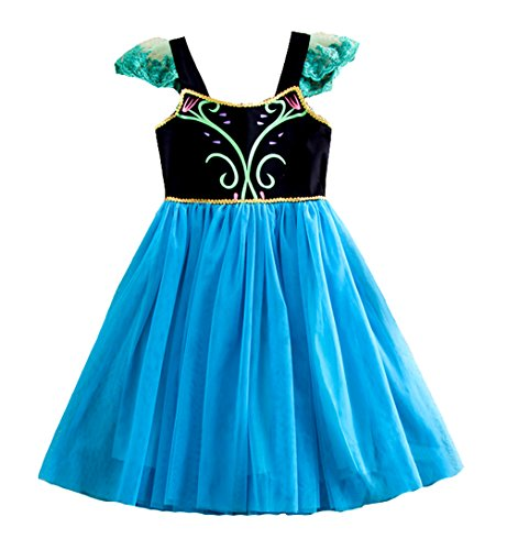 Cokos Box Frozen Anna Dress Costume Princess Dress for Girls (Toddler 2-3 Years, Blue) -
