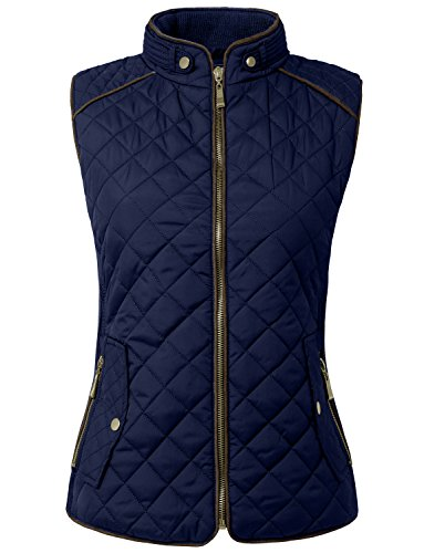 NE PEOPLE Womens Lightweight Quilted Zip Vest, Large, NEWV40NAVY