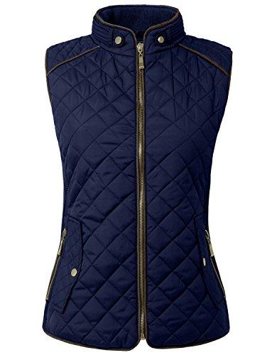 NE PEOPLE Womens Lightweight Quilted Zip Vest, Large, NEWV40NAVY - Sleeveless Button Waist Shirt