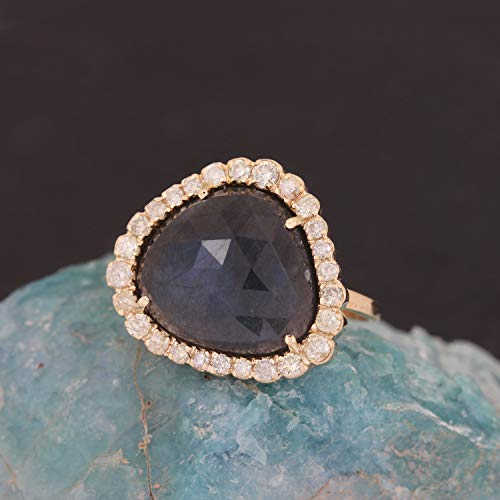 Natural 0.39 Ct. Diamond Cocktail Ring Labradorite Gemstone Wedding Jewelry Solid 14k Yellow Gold Handmade Fine Jewelry Christmas Day Gift For Her