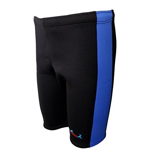 MagiDeal Men Women 3mm Neoprene Wetsuit Shorts Canoe Kayak Surf Swim Cycling S/M/L/XL/XXL - Blue and Black, XL ()