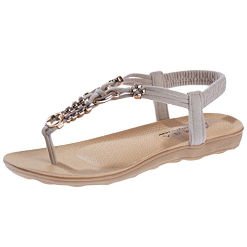 Sentao Mujer Sandalias Bohemia Plano Sandalias del Verano con Cuentas T-Correas Playa Zapatos Beige