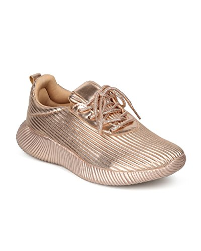 Wild HF81 Up Rose Jogger Diva Alrisco Women Collection Sneaker Low Lace Metallic Gold by Top Textured TTfO8v