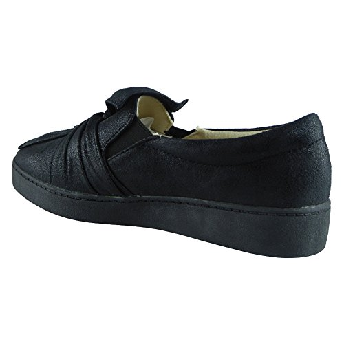 Shoes Size On Flat Black Bow Ladies Pumps Sneakers Womens 3 Trainers Shimmer Slip Faux 8 New Suede RHBP7qxw