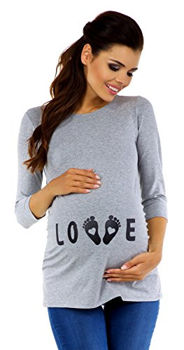 Zeta Ville Premamá - T-shirt Camiseta divertido estampada - para mujer - 548c Gris