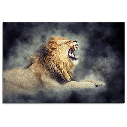Roar Lion Picture (KALAWA Black and Yellow Authority Roar Lion Head Portrait Wall Art Painting Pictures Print On Canvas Animal Art Work for Living Room Stretched and Framed Ready to Hang(16''W x 24''H))