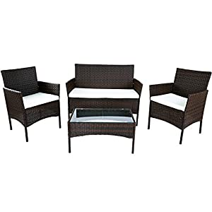Merax 4 PC Outdoor Garden Rattan Patio Furniture Set Cushioned Seat Wicker Sofa from Merax