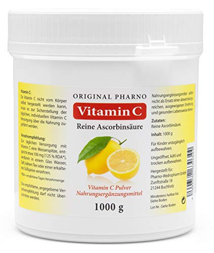 Vitamin C - Reine Ascorbinsäure - Apotheken Qualität 1 kg   1 Dose mit 1.000g [Original-Pharno]