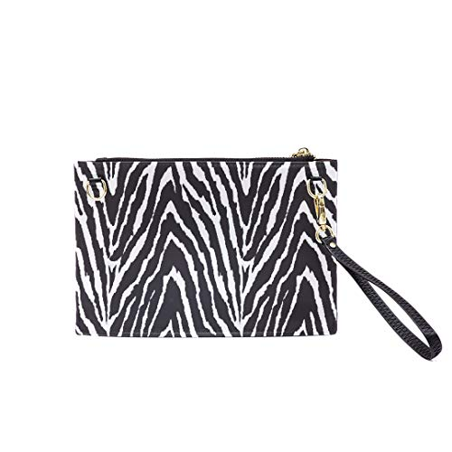 Handbag Shoulder Bags Envelope Clutch Black White Zebra Print Seamless Clutch Purse For Women Wrist Leather Zipper Crossbody Bag Satchel Purse With Detachable Shoulder &wrist Straps ()