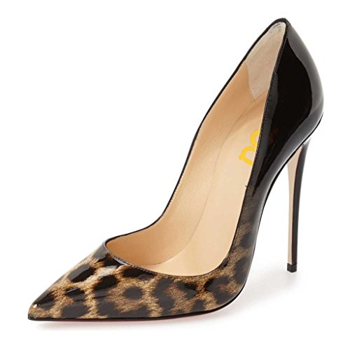 FSJ Gradient Leopard US Shoes 4 15 Pointy Women Heels Print Sky Size Pumps Toe High 6S6qHwr