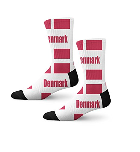 Denmark Country Flag Fun Cool Novelty Crew Cuff Men Women Socks Large