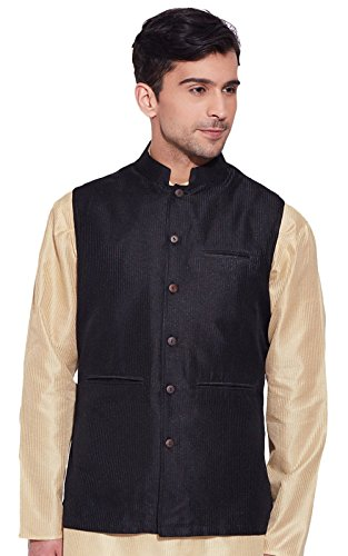 Men Sleeve Less Designer Faux Silk Nehru Jacket Casual Wear Plain Waistcoat