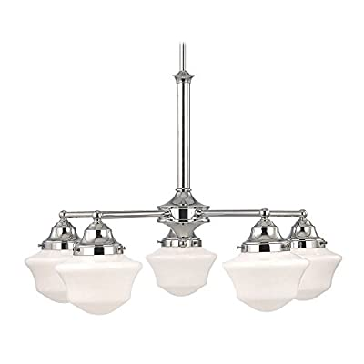 Schoolhouse Chandelier in Chrome Finish with Five Lights