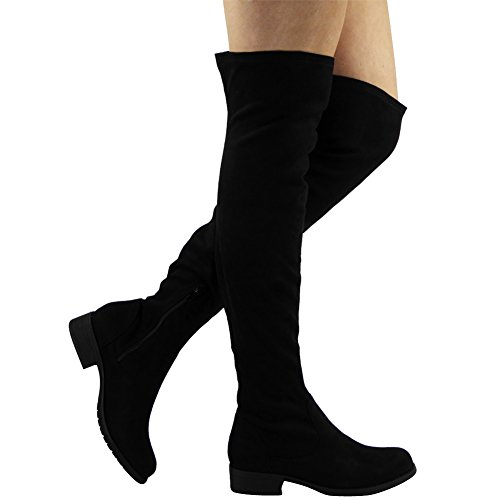 Botas elásticas de ante sintético, por encima de la rodilla, tacón bajo Negro - negro