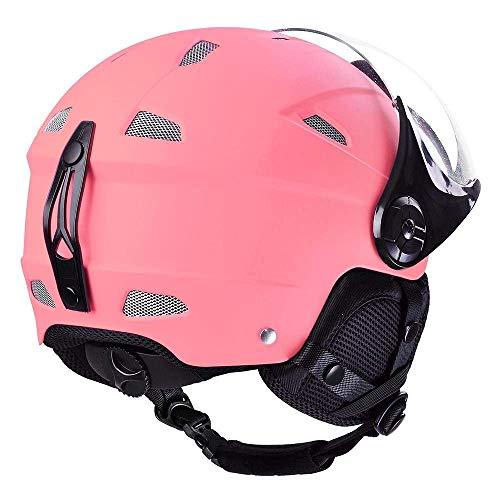 LeeMas Inc Kids Snow Sport Helmet ATSM Certified Ski Skate Board Protective Skiing Snowboard Skating Skateboard (Matte Pink, Size XL)